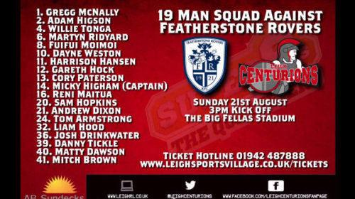 Centurions Announce Squad For Featherstone Clash