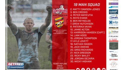 Centurions Announce 19 Man Squad For Dewsbury Game