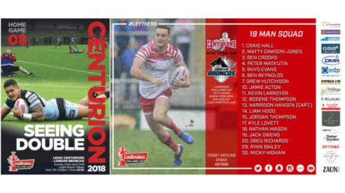 Leigh Centurions Announce 19-Man Squad For Ladbrokes Challenge Cup Clash With London Broncos