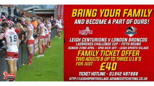 Get Your Tickets For The Ladbrokes Challenge Cup Game With London Now!