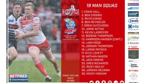Centurions Announce Squad For Rochdale Hornets Game