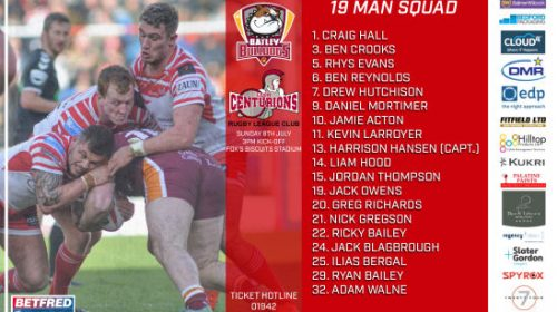 Centurions Announce 19-Man Squad For Batley Game