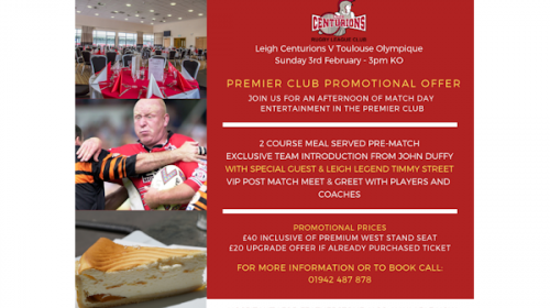 Limited Availability In The Premier Club This Sunday