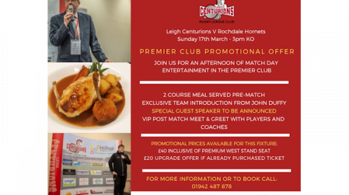 Limited Availability In The Premier Club For Leigh Vs Rochdale